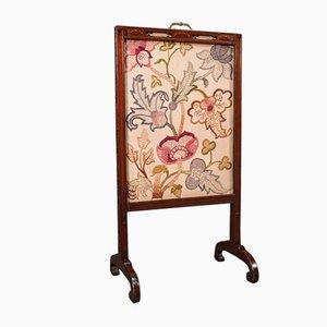 Antique English Regency Needlepoint Fire Screen in Mahogany