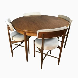Mid-Century Round Extendable Table with 4 Matching Chairs by V. B. Wilkins for G Plan, Set of 7