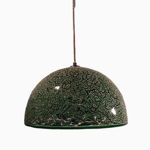 Lampe à Suspension Modèle Neverrino Verte & Noire en Verre à Pied par Gae Aulenti pour Vistosi, 1970s
