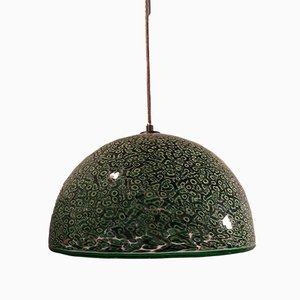 Modell Mveri Glas Hängelampe in Grün & Schwarz von Gae Aulenti für Vistosi, 1970er