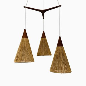 Raffia and Teak Cascade Ceiling Lamp from Temde, 1960s