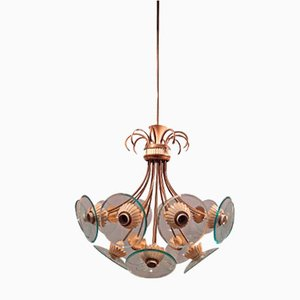 Brass and Iron Ceiling Lamp by Pietro Chiesa for Fontana Arte, 1950s