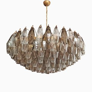 Murano Glass Chandelier with 185 Clear and Smoked Poliedri Glasses