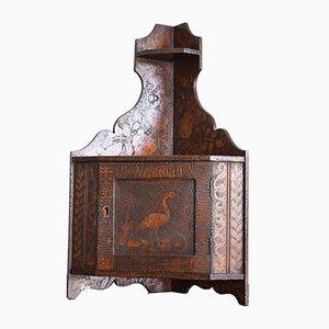 Pokerwork Corner Cupboard Unit, Late 19th Century