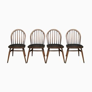 Mid-Century Blue Label Hoop-Back Windsor Dining Chairs from Ercol, Set of 4