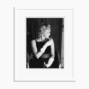 Imprimé Gélatine Marilyn Monroe en Argent Encadré en Blanc Encastré Blanc par Baron