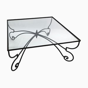 Vintage Art Nouveau Style Forged Iron & Glass Square Coffee Table, 1940s