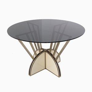 Italienischer Runder Tisch aus Stahl und Aluminium mit Rauchglas