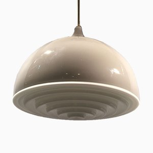 Gray and Milk Glass Ceiling Lamp by Alessandro Pianon for Vistosi