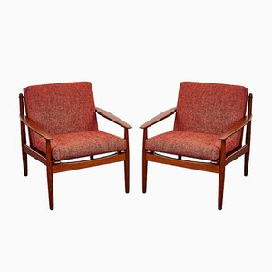 Mid-Century Danish Armchair & Chaise Longue Set by Arne Vodder for Glostrup, 1960s, Set of 2