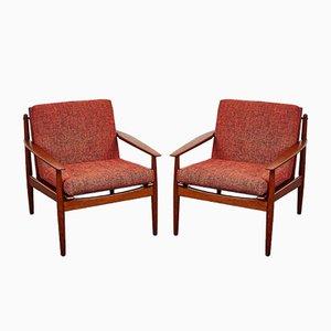 Poltrona e chaise longue Mid-Century di Arne Vodder per Glostrup, Danimarca, anni '60, set di 2