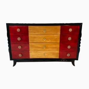 Italian Art Deco Brass, Maple and Red Parchment Dresser, 1940s