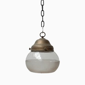 Antique German Two-Tone Glass and Brass Pendant Lamp