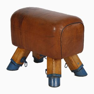 Vintage Leather Vaulting Horse or Stool, 1950s