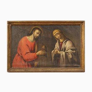 Peinture Représentant le Christ Portant la Croix, Début 18ème Siècle