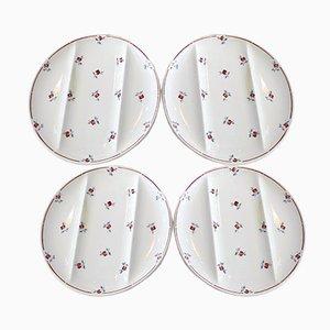 Model Amazone Asparagus Plates by Digoin Sarreguemines, Set of 4