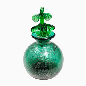 Vintage Emerald Green Murano Glass Perfume Bottle in the Style of Napoleone Martinuzzi
