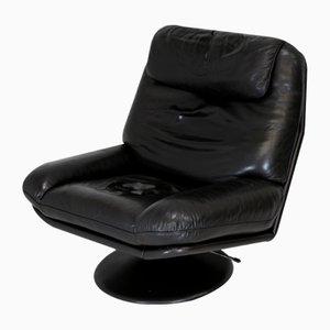 Swiss Black Leather Swivel Chair from De Sede, 1980s