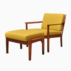 Mid-Century Nordic Lounge Chair & Ottoman by Fredrik A. Kayser, Set of 2