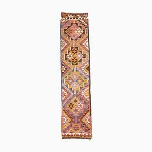 Vintage Turkish Folk Art-Style Multicolored Geometric Kilim Runner, 1960s