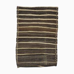 Mid-Century Turkish Undyed Flatweave Kilim Rug with Minimalist Striped Design, 1970s
