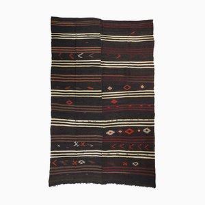 Tappeto Kilim Mid-Century minimalista a strisce con motivi folk art, Turchia, anni '60