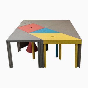 Tavoli Tangram di Massimo Morozzi per Cassina, anni '80, set di 7