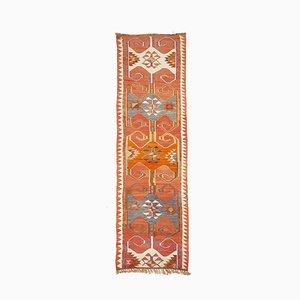 Vintage Turkish Sun-Faded Orange Kilim Runner with Ram's Horn Pattern