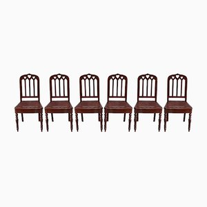Restoration Period Chairs in Mahogany, Early 19th Century, Set of 6