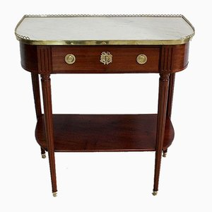 Small Louis XVI Console Table in Mahogany and Marble