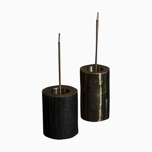 Incensori in ottone massiccio scolpiti di William Guillon, set di 2