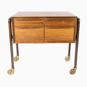 Small Danish Chest of Drawers on Wheels in Rosewood, 1960s