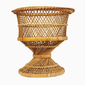 Vintage Wicker Plant Stand, 1970s