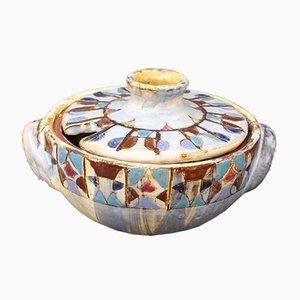 Decorative French Ceramic Sugar Bowl by Fernande Kohler, 1960s