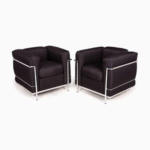 Le Corbusier LC 2 Black Armchairs from Cassina, Set of 2