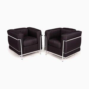 Schwarze Le Corbusier LC 2 Armlehnstühle von Cassina, 2er Set