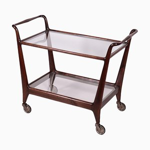 Walnut Stained Beech and Glass Service Cart, Italy, 1950s