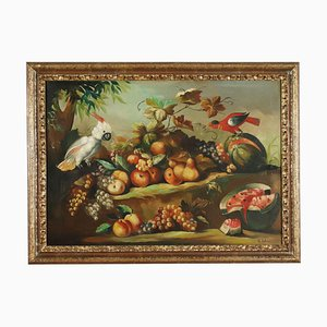 Still Life with Fruit and Parrots, Oil on Canvas