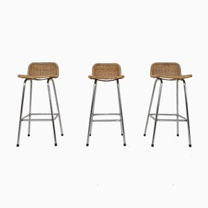 Rattan and Metal Bar Stools from Rohe Noordwolde, The Netherlands, 1950s, Set of 2