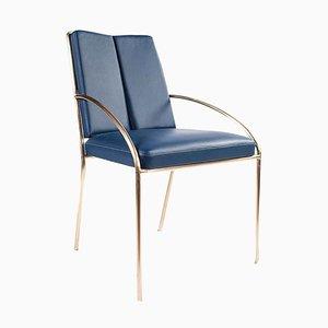 Chaise Bleue en Laiton par Atelier Thomas Formont