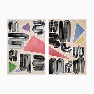 Primärfarben und Primärformen Diptychon, Futuristische Malerei auf Papier, 2021