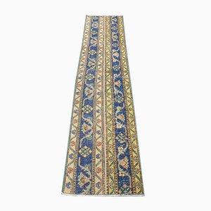 Türkischer Vintage Handgewebter Wollteppich in Gelb & Blau