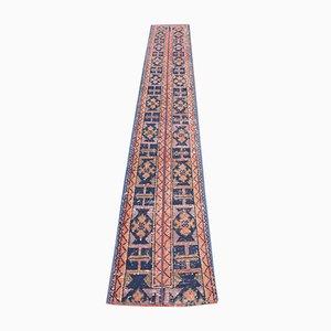 Vintage Turkish Narrow Handmade Wool Orange Rug
