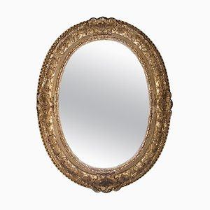 Neoclassical Empire Oval Gold Hand Carved Wooden Mirror, Spain, 1970s