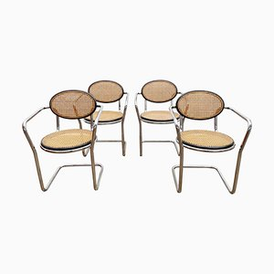 Italian Tubular and Caning Chairs, 1970s, Set of 4