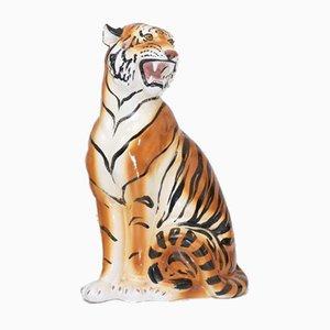 Sculpture de Tigre Vintage en Poterie