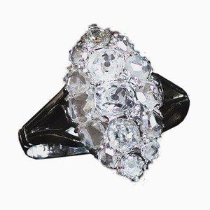 Antiker 18 Karat Weißgold Navette Ring mit Diamanten, 1930er