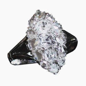 Antique 18K White Gold Navette Ring with Diamonds, 1930s