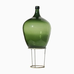 Large Antique Green Forest Glass Demijohn