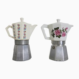Vintage Porcelain Coffee Pots or Cafetières from Bialetti, 1960s, Set of 2